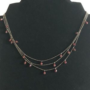 Three Strand Necklace with Red Beads